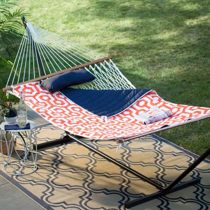 Algoma 11 ft. Cotton Rope Hammock with Metal Stand