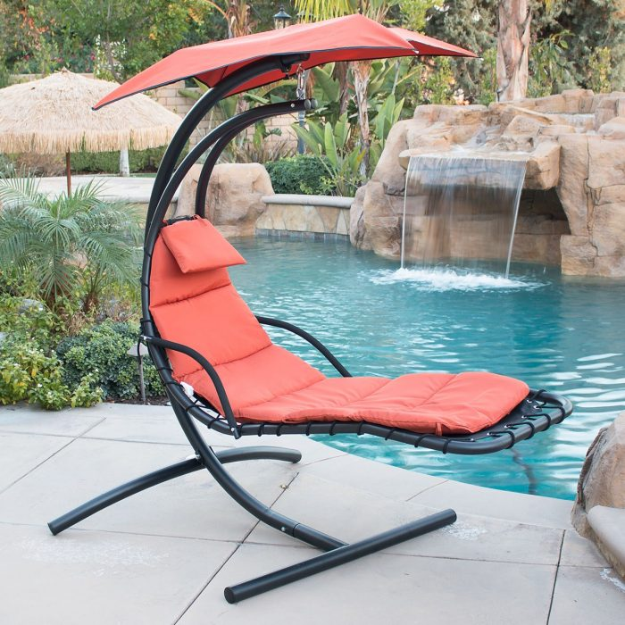Best Choice Products Hanging Chaise Lounger Chair Arc Stand